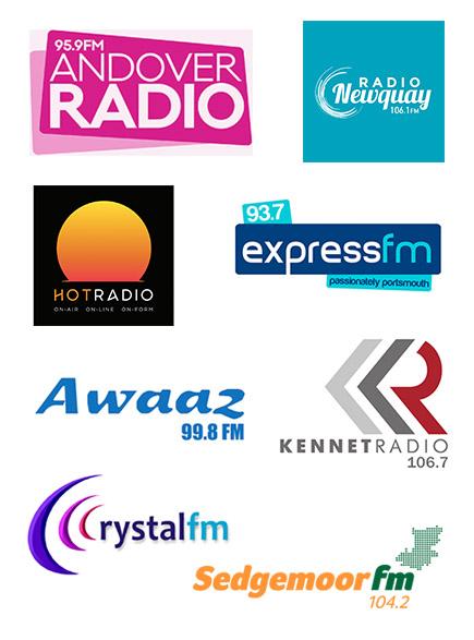 Andover Radio, Radio Newquay, Hot Radio, Express FM, Awaaz FM, Kennet Radio, Crystal FM, Sedgemoor FM