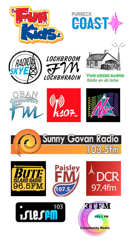 Fun Kids, Cuillin FM,  Two Lochs Radio, Lochbroom FM, Isles FM, and Purbeck Coast FM