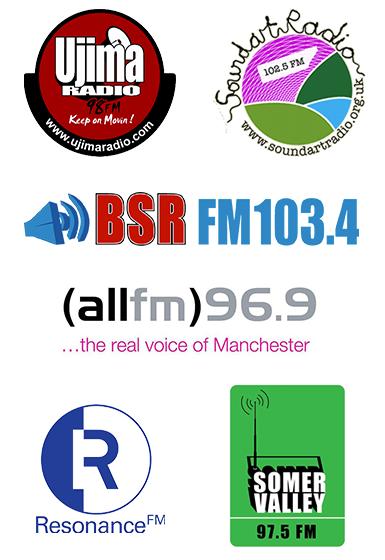 Ujima Radio, Resonance FM, ALL FM, Somer Valley FM, Soundart Radio, and Bradley Stoke Radio.