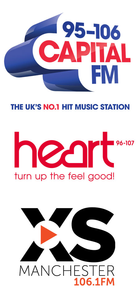 XS Manchester, Capital Scotland,  Heart Yorkshire, Heart Hertfordshire, and Capital South Wales & Heart North Wales